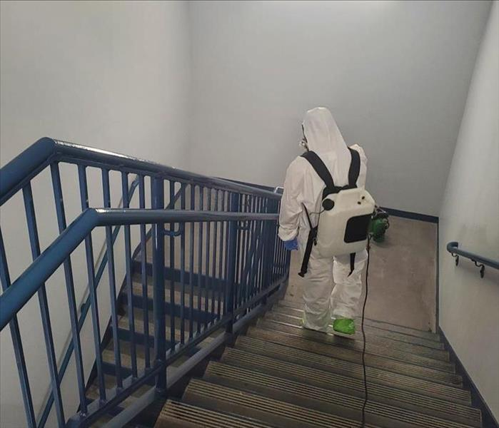 employee cleaning stairway